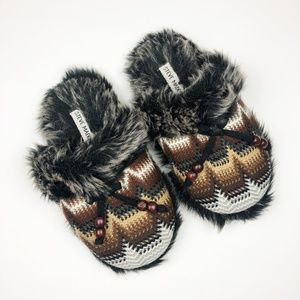 Steve Madden Faux Fur Knit Pattern Slippers